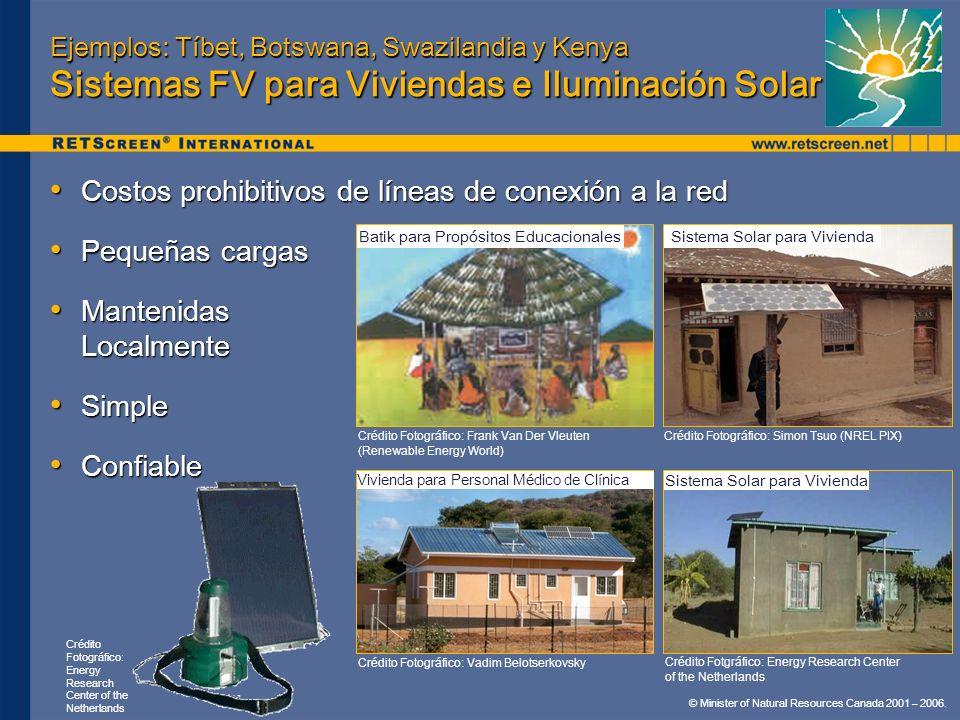 © Minister of Natural Resources Canada 2001 – 2006. Ejemplos: Tíbet, Botswana, Swazilandia y Kenya Sistemas FV para Viviendas e Iluminación Solar Cost