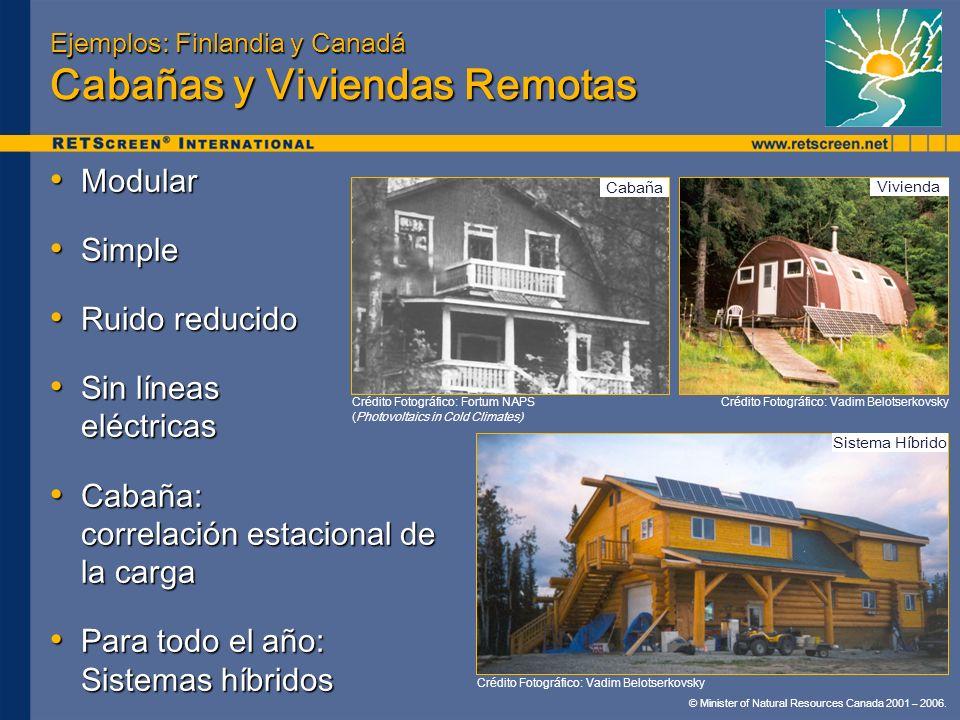 © Minister of Natural Resources Canada 2001 – 2006. Ejemplos: Finlandia y Canadá Cabañas y Viviendas Remotas Modular Modular Simple Simple Ruido reduc