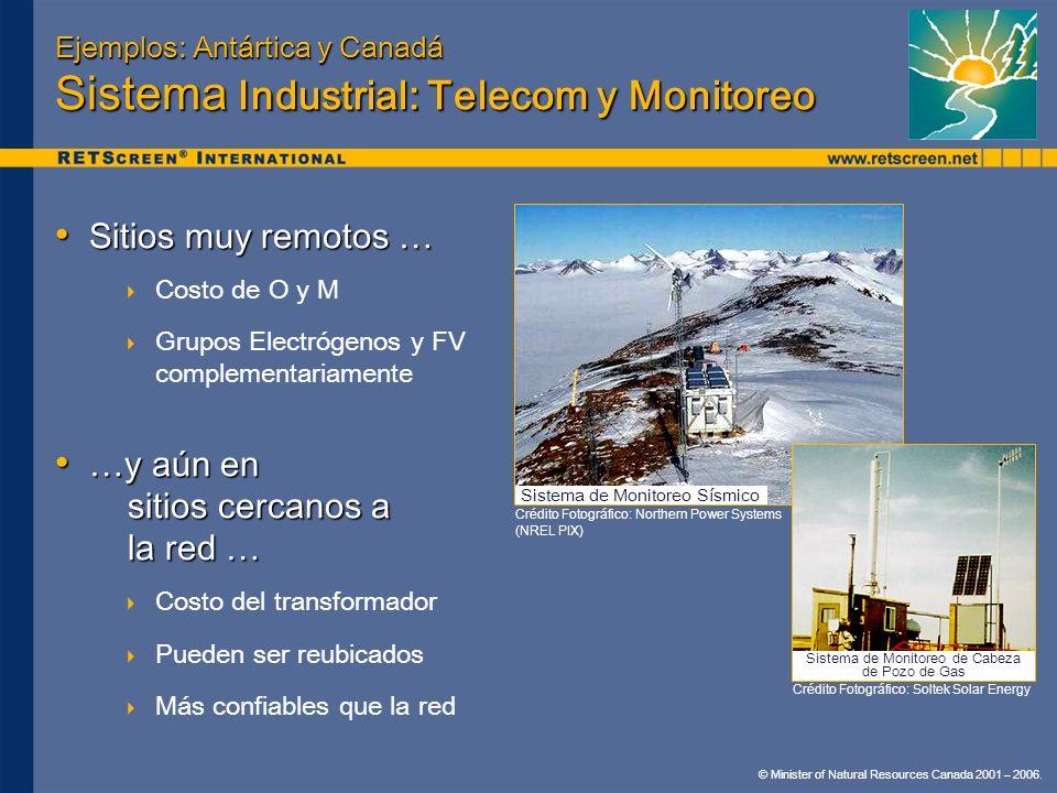 © Minister of Natural Resources Canada 2001 – 2006. Ejemplos: Antártica y Canadá Sistema Industrial: Telecom y Monitoreo Sitios muy remotos … Sitios m