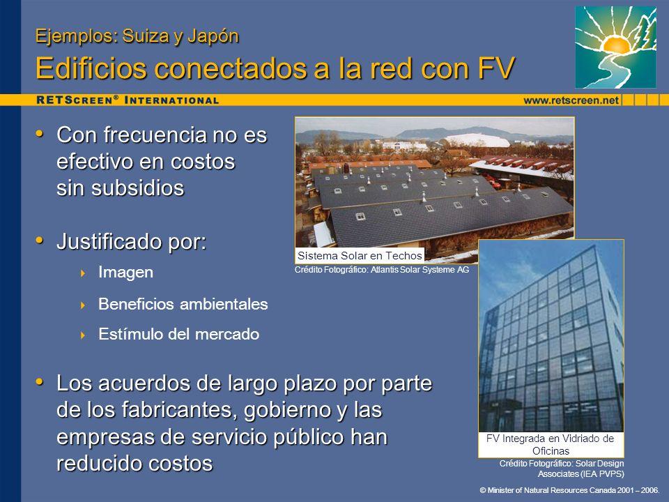 © Minister of Natural Resources Canada 2001 – 2006. Ejemplos: Suiza y Japón Edificios conectados a la red con FV Con frecuencia no es efectivo en cost