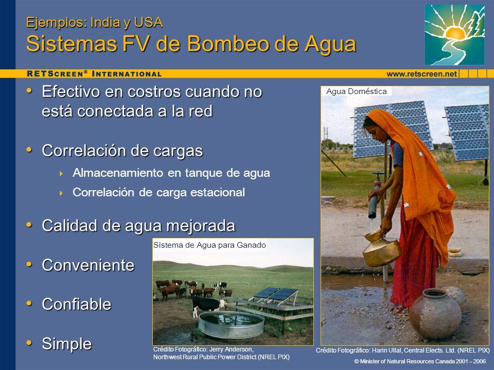 © Minister of Natural Resources Canada 2001 – 2006. Ejemplos: India y USA Sistemas FV de Bombeo de Agua Efectivo en costros cuando no está conectada a