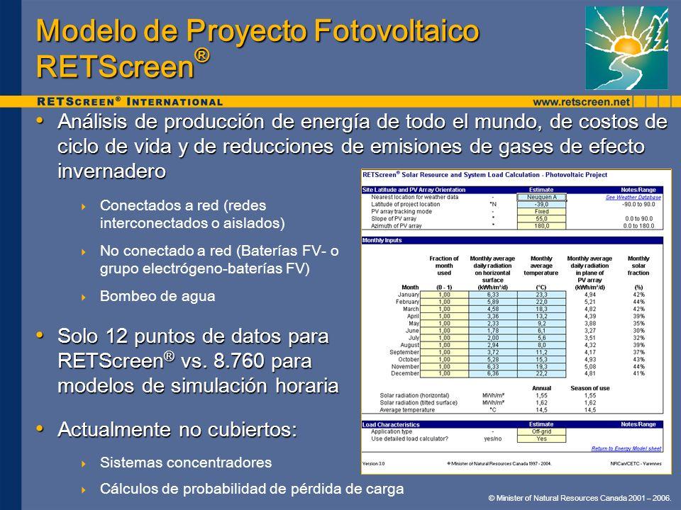 © Minister of Natural Resources Canada 2001 – 2006. Modelo de Proyecto Fotovoltaico RETScreen ® Análisis de producción de energía de todo el mundo, de