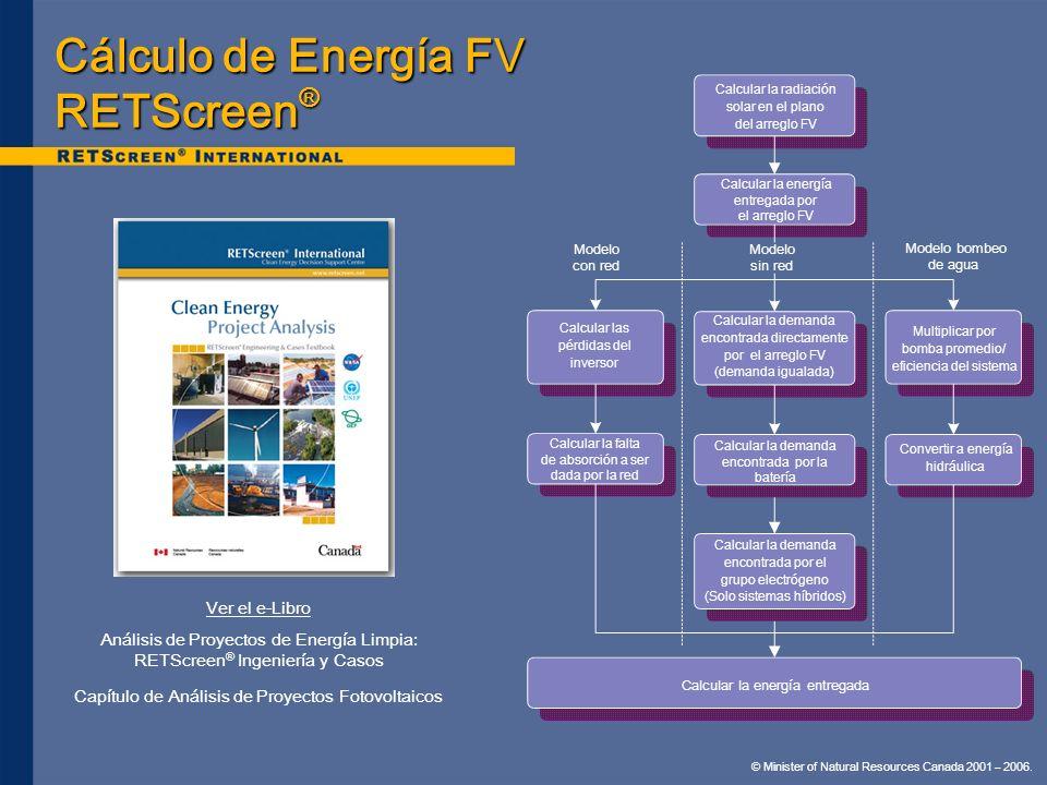© Minister of Natural Resources Canada 2001 – 2006. Cálculo de Energía FV RETScreen ® Ver el e-Libro Análisis de Proyectos de Energía Limpia: RETScree