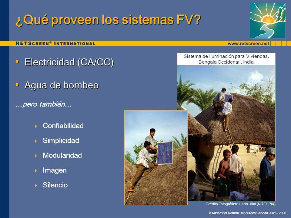 © Minister of Natural Resources Canada 2001 – 2006. ¿Qué proveen los sistemas FV? Electricidad (CA/CC) Electricidad (CA/CC) Agua de bombeo Agua de bom