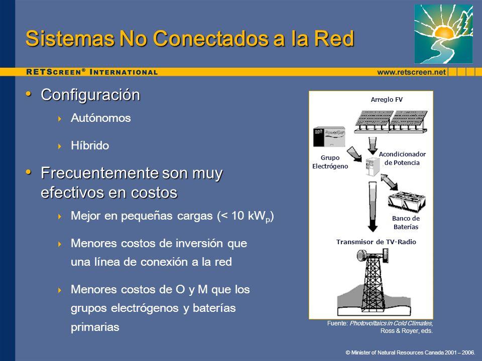 © Minister of Natural Resources Canada 2001 – 2006. Sistemas No Conectados a la Red Configuración Configuración Autónomos Híbrido Frecuentemente son m