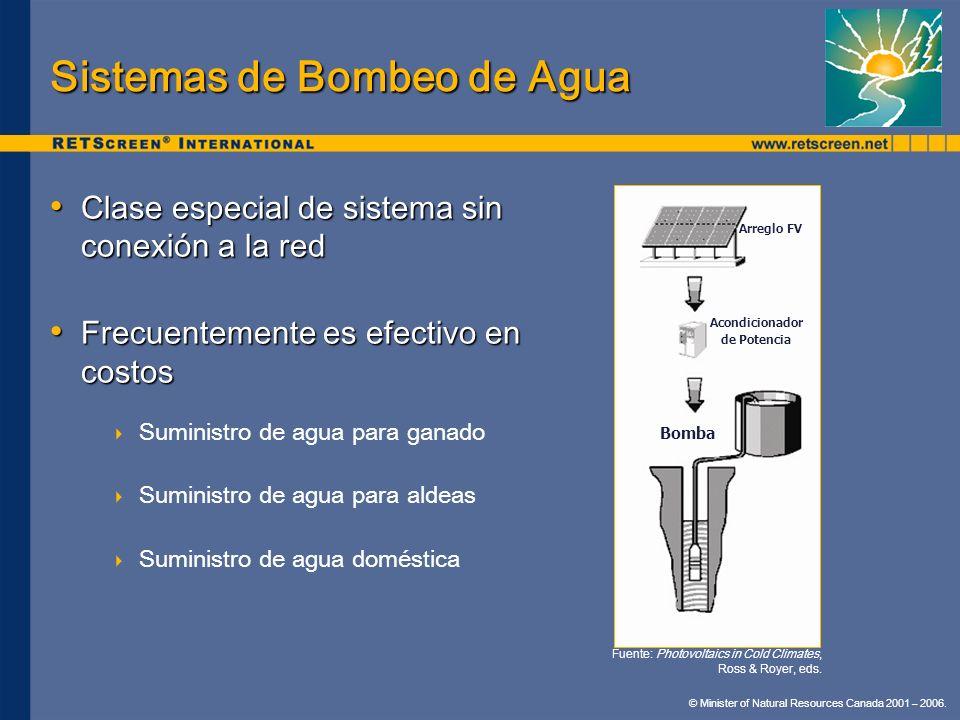 © Minister of Natural Resources Canada 2001 – 2006. Sistemas de Bombeo de Agua Clase especial de sistema sin conexión a la red Clase especial de siste