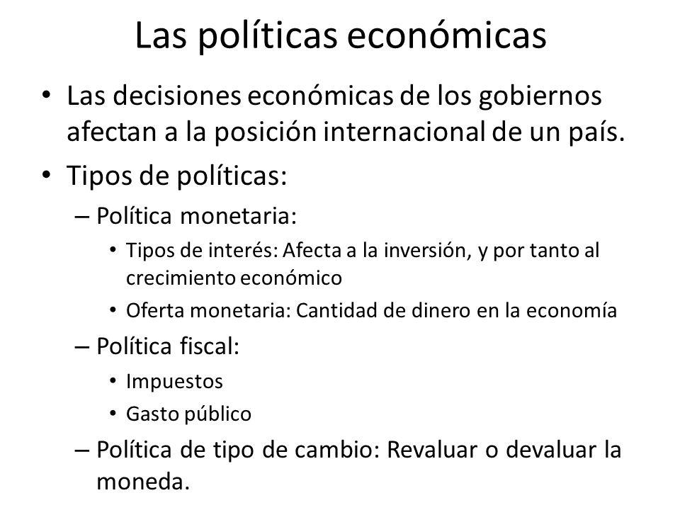 Las políticas económicas Las decisiones económicas de los gobiernos afectan a la posición internacional de un país. Tipos de políticas: – Política mon