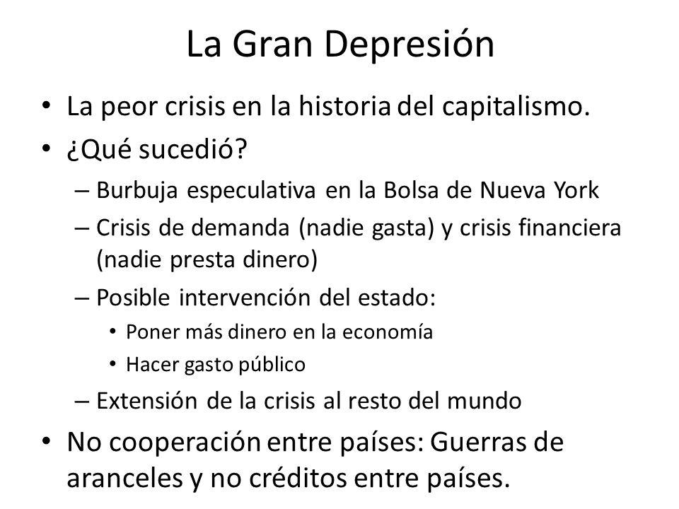 La Gran Depresión La peor crisis en la historia del capitalismo. ¿Qué sucedió? – Burbuja especulativa en la Bolsa de Nueva York – Crisis de demanda (n