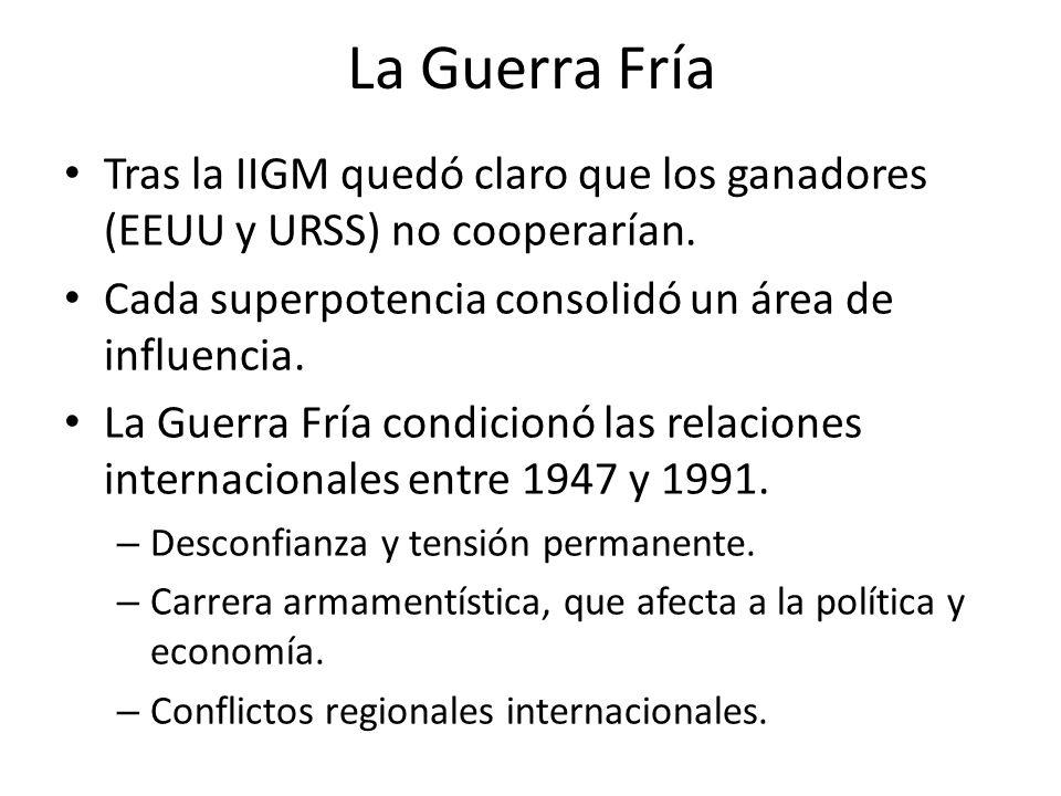 La Guerra Fría Tras la IIGM quedó claro que los ganadores (EEUU y URSS) no cooperarían. Cada superpotencia consolidó un área de influencia. La Guerra
