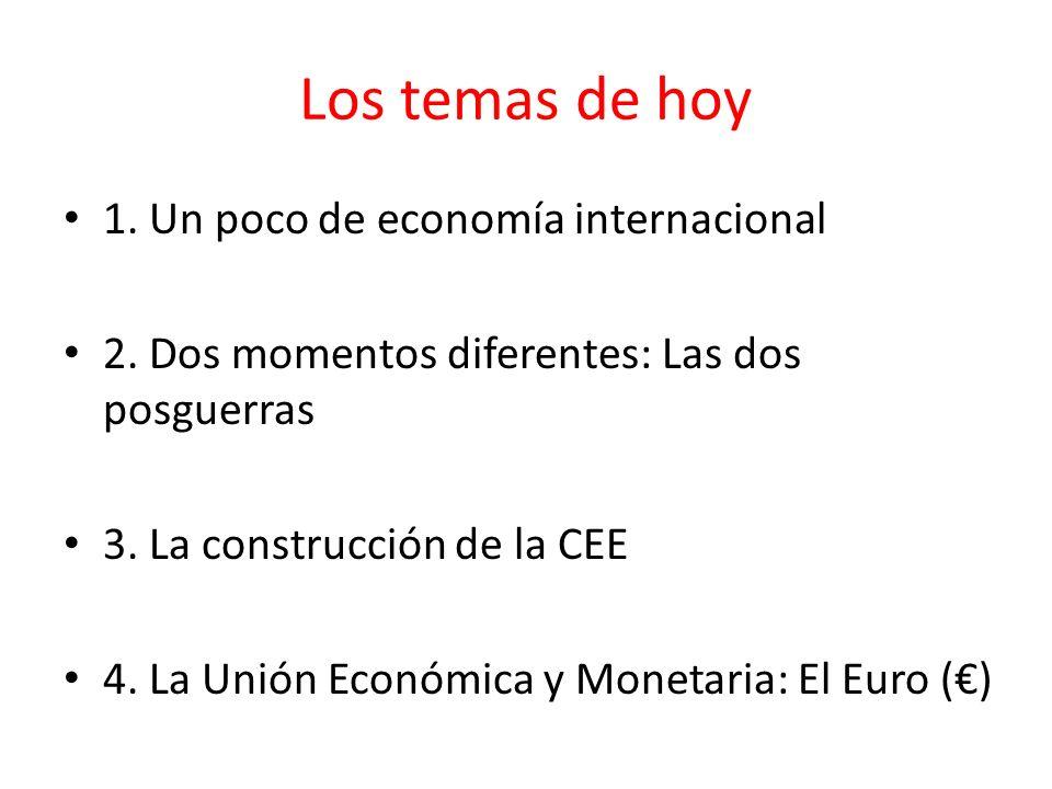 Los temas de hoy 1. Un poco de economía internacional 2. Dos momentos diferentes: Las dos posguerras 3. La construcción de la CEE 4. La Unión Económic