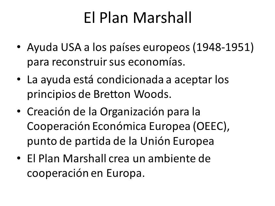 El Plan Marshall Ayuda USA a los países europeos (1948-1951) para reconstruir sus economías. La ayuda está condicionada a aceptar los principios de Br