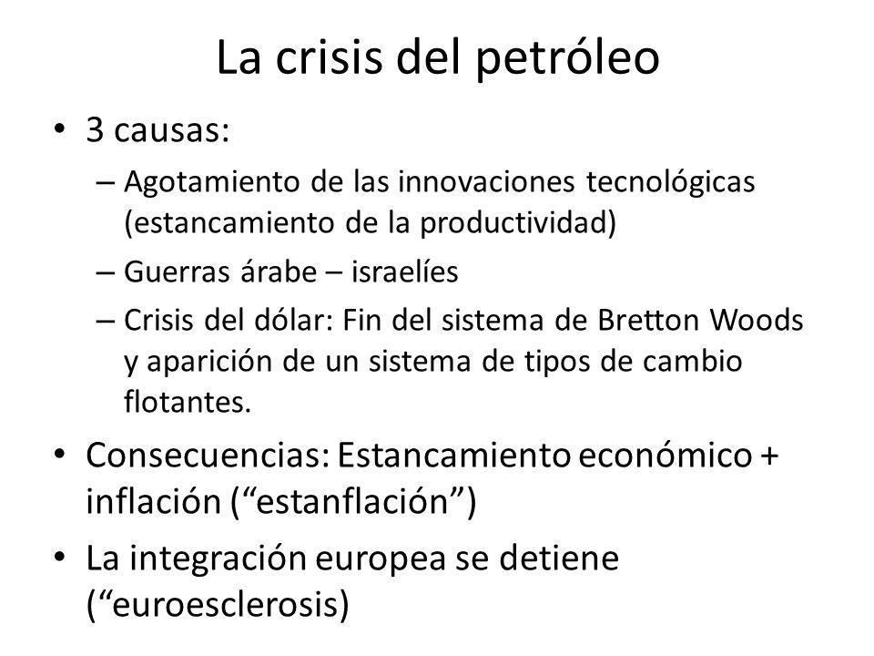 La crisis del petróleo 3 causas: – Agotamiento de las innovaciones tecnológicas (estancamiento de la productividad) – Guerras árabe – israelíes – Cris
