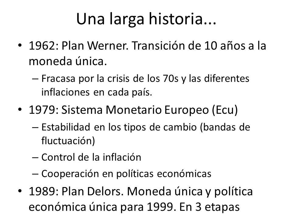 Una larga historia... 1962: Plan Werner. Transición de 10 años a la moneda única. – Fracasa por la crisis de los 70s y las diferentes inflaciones en c