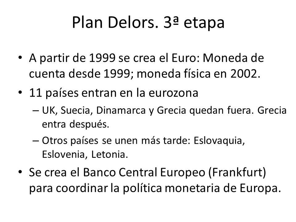 Plan Delors. 3ª etapa A partir de 1999 se crea el Euro: Moneda de cuenta desde 1999; moneda física en 2002. 11 países entran en la eurozona – UK, Suec