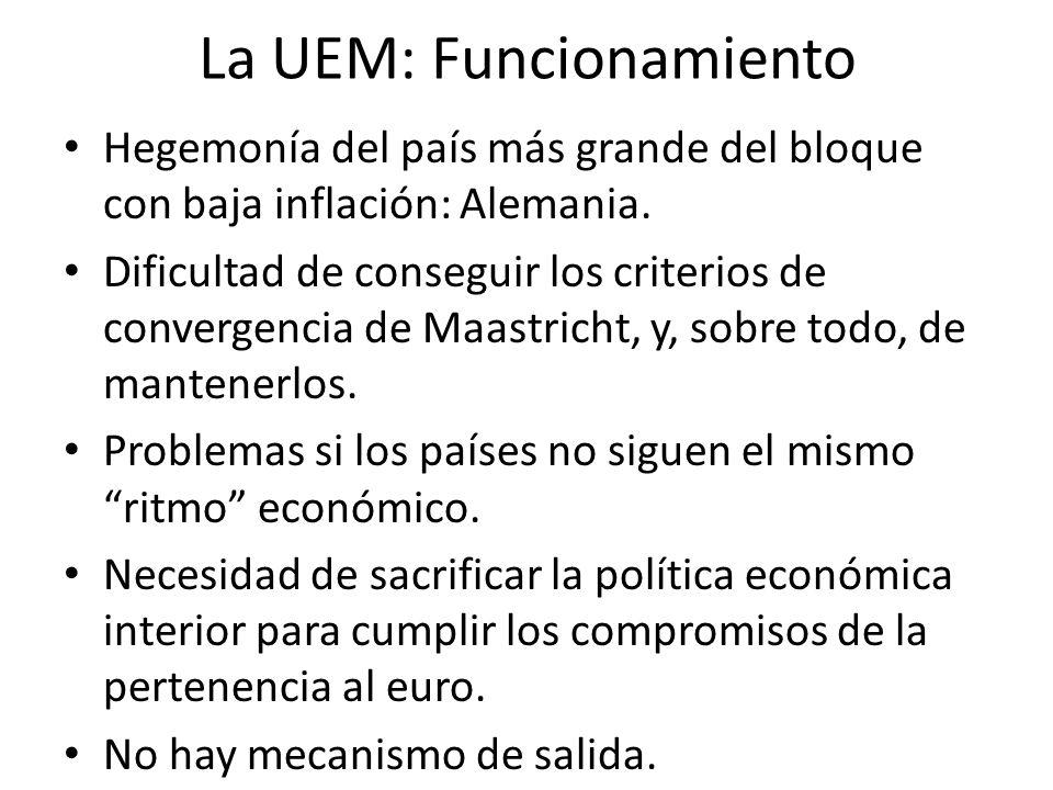 La UEM: Funcionamiento Hegemonía del país más grande del bloque con baja inflación: Alemania. Dificultad de conseguir los criterios de convergencia de