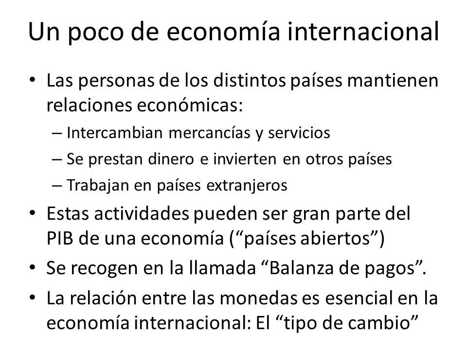 Un poco de economía internacional Las personas de los distintos países mantienen relaciones económicas: – Intercambian mercancías y servicios – Se pre