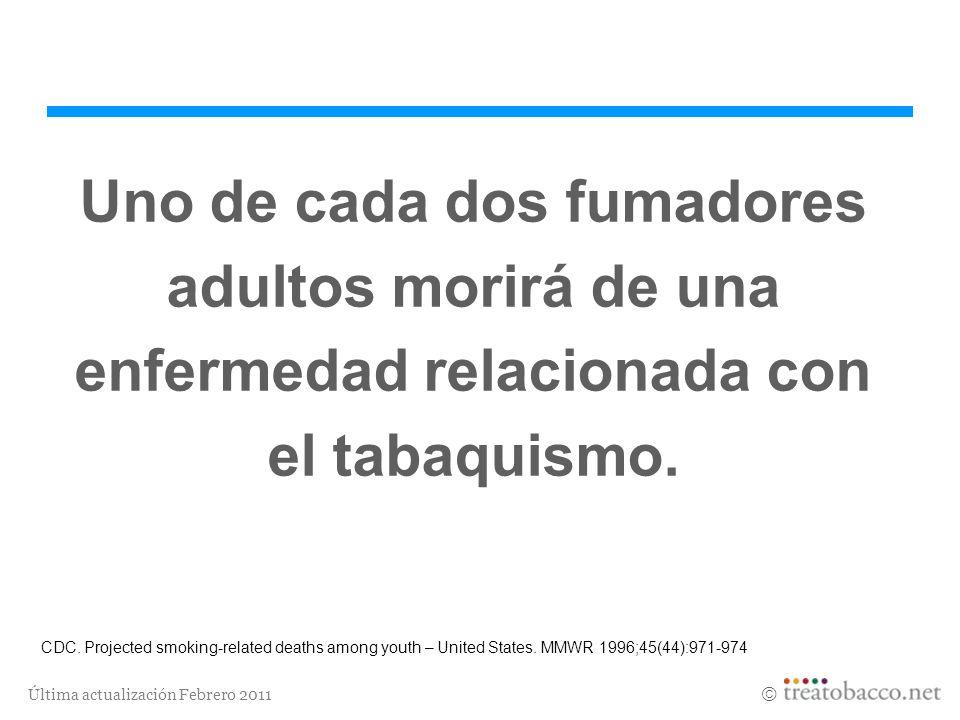 Última actualización Febrero 2011 Uno de cada dos fumadores adultos morirá de una enfermedad relacionada con el tabaquismo. CDC. Projected smoking-rel