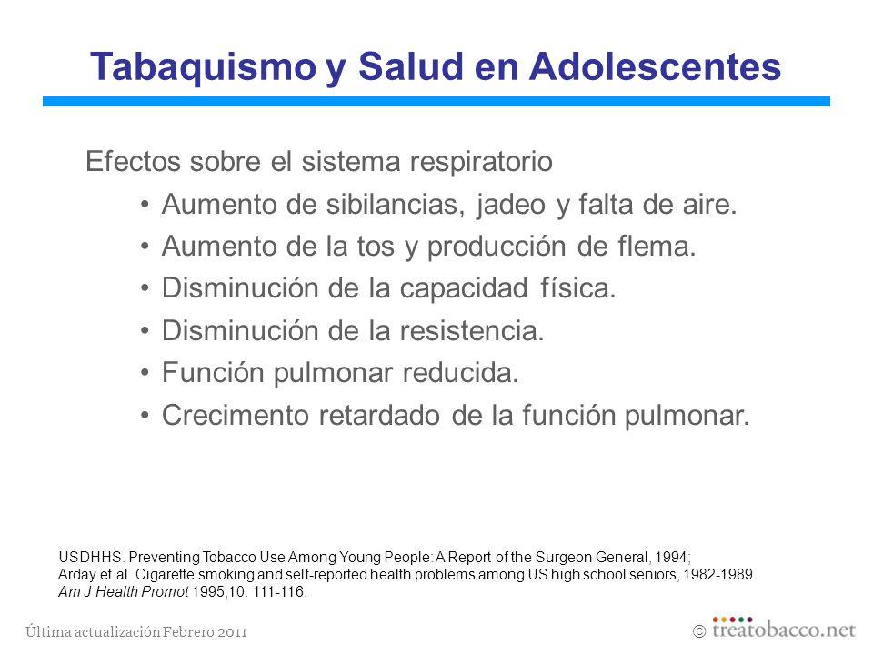 Última actualización Febrero 2011 Tabaquismo y Salud en Adolescentes Efectos sobre el sistema respiratorio Aumento de sibilancias, jadeo y falta de ai