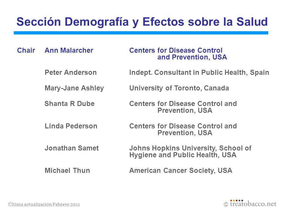 Última actualización Febrero 2011 Sección Demografía y Efectos sobre la Salud Revised 05/06 ChairAnn Malarcher Centers for Disease Control and Prevent
