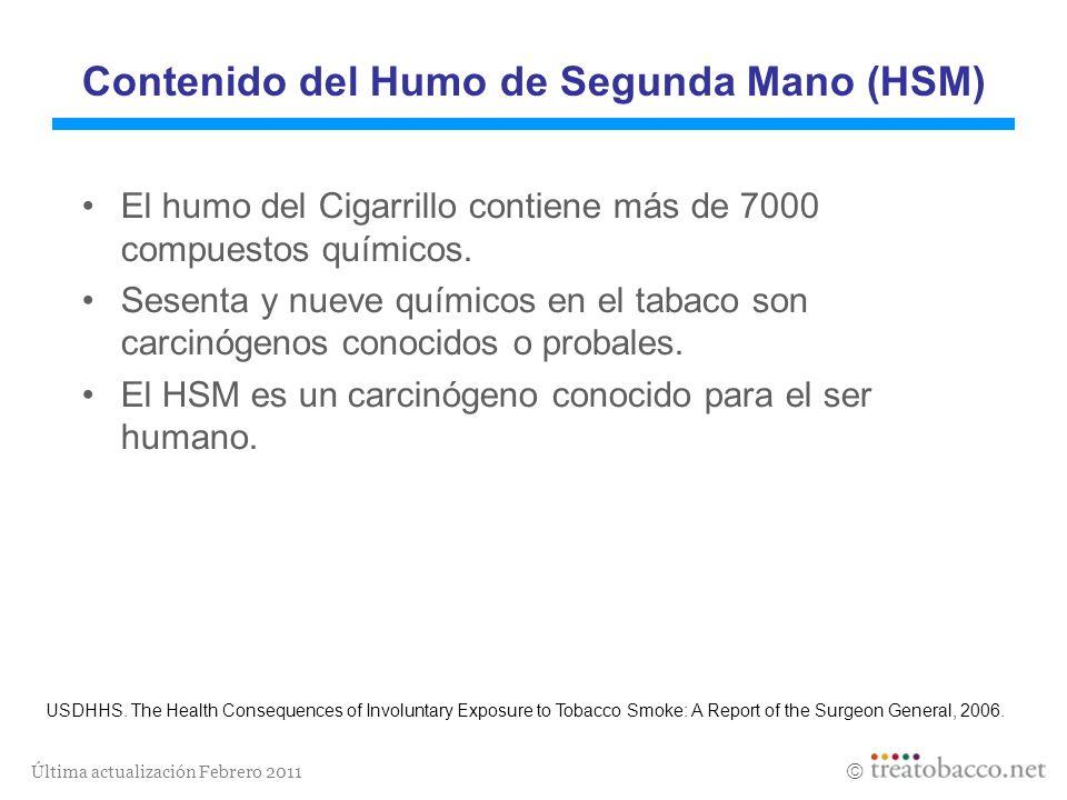Última actualización Febrero 2011 Contenido del Humo de Segunda Mano (HSM) El humo del Cigarrillo contiene más de 7000 compuestos químicos. Sesenta y