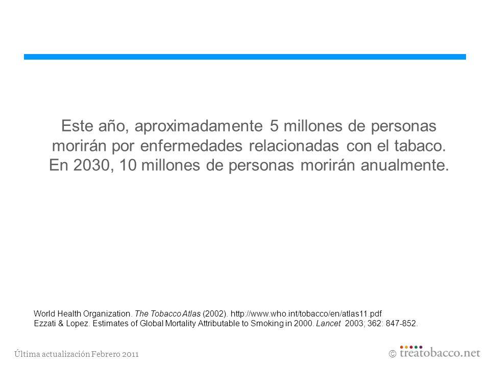 Última actualización Febrero 2011 Este año, aproximadamente 5 millones de personas morirán por enfermedades relacionadas con el tabaco. En 2030, 10 mi