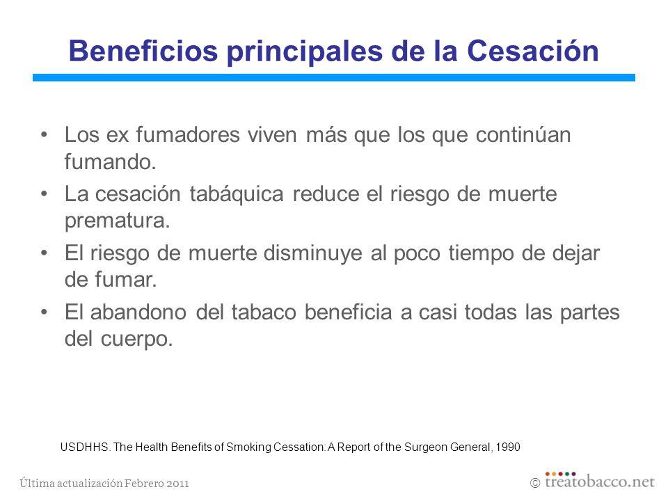 Última actualización Febrero 2011 Beneficios principales de la Cesación Los ex fumadores viven más que los que continúan fumando. La cesación tabáquic