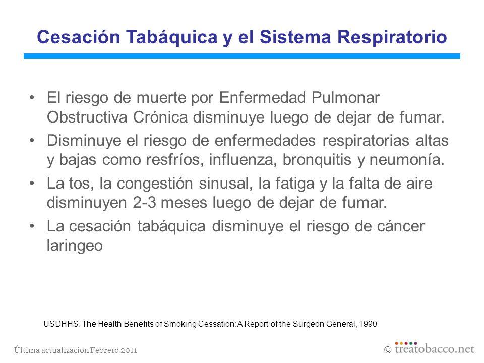 Última actualización Febrero 2011 Cesación Tabáquica y el Sistema Respiratorio El riesgo de muerte por Enfermedad Pulmonar Obstructiva Crónica disminu