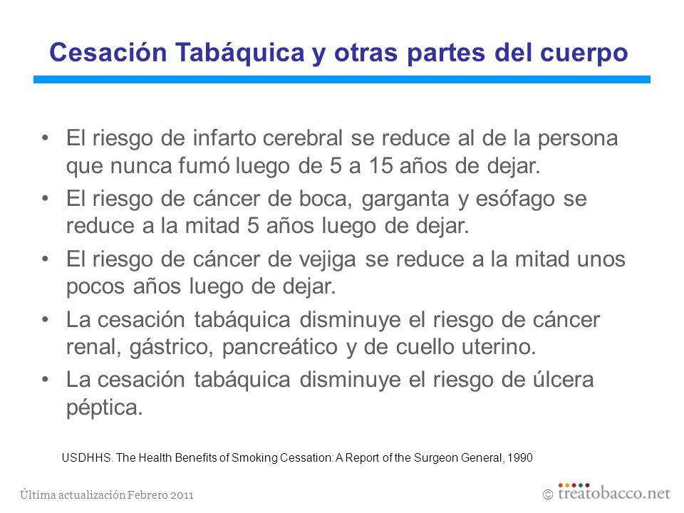Última actualización Febrero 2011 Cesación Tabáquica y otras partes del cuerpo El riesgo de infarto cerebral se reduce al de la persona que nunca fumó