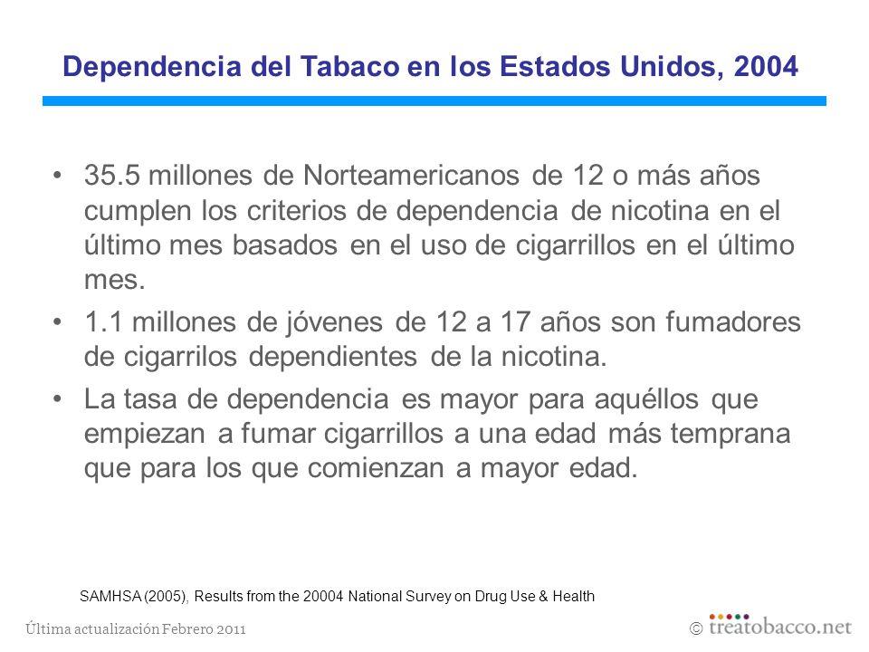 Última actualización Febrero 2011 Dependencia del Tabaco en los Estados Unidos, 2004 35.5 millones de Norteamericanos de 12 o más años cumplen los cri
