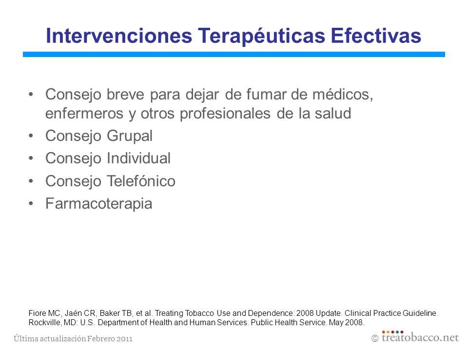 Última actualización Febrero 2011 Intervenciones Terapéuticas Efectivas Consejo breve para dejar de fumar de médicos, enfermeros y otros profesionales