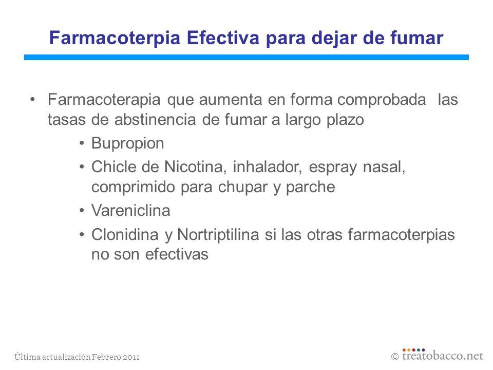 Última actualización Febrero 2011 Farmacoterpia Efectiva para dejar de fumar Farmacoterapia que aumenta en forma comprobada las tasas de abstinencia d