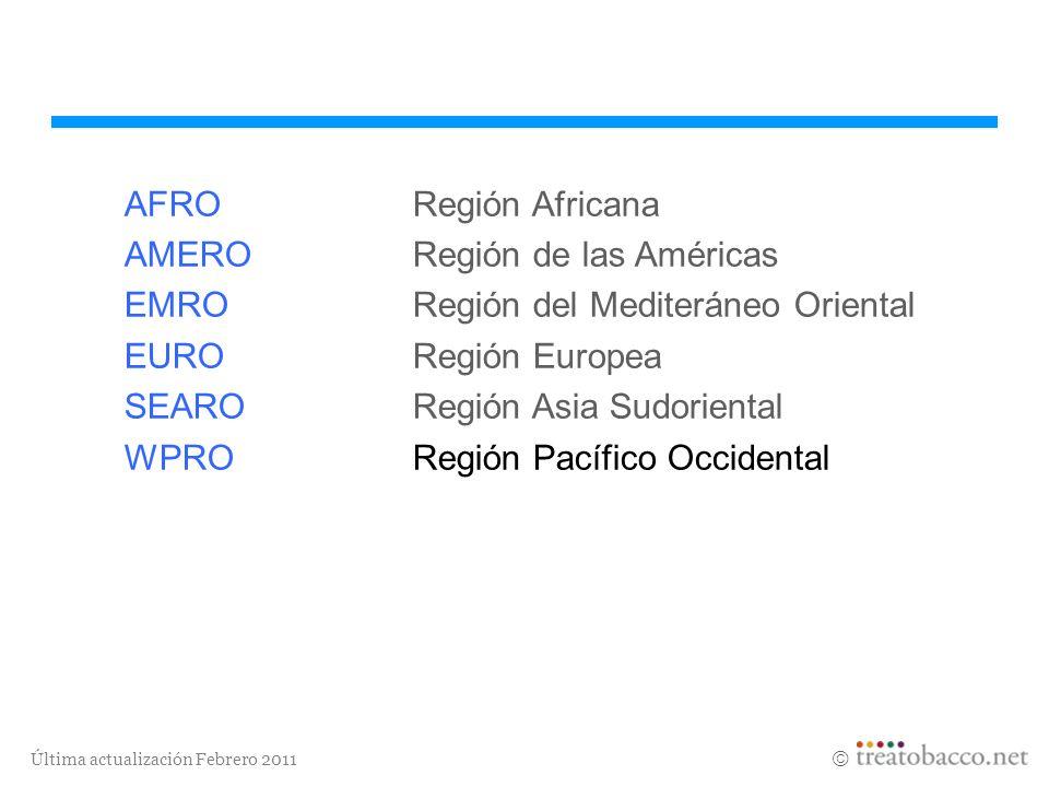 Última actualización Febrero 2011 AFRORegión Africana AMERORegión de las Américas EMRORegión del Mediteráneo Oriental EURORegión Europea SEARORegión A