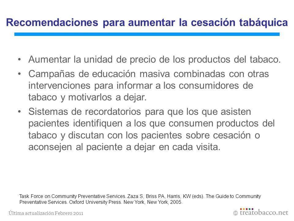Última actualización Febrero 2011 Aumentar la unidad de precio de los productos del tabaco. Campañas de educación masiva combinadas con otras interven