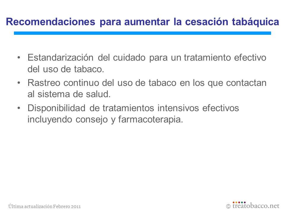 Última actualización Febrero 2011 Estandarización del cuidado para un tratamiento efectivo del uso de tabaco. Rastreo continuo del uso de tabaco en lo