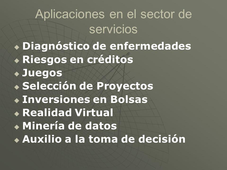 Aplicaciones en el sector de servicios Diagnóstico de enfermedades Riesgos en créditos Juegos Selección de Proyectos Inversiones en Bolsas Realidad Vi