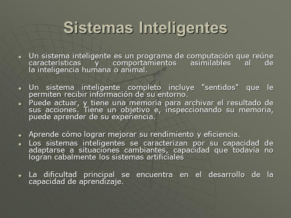Sistemas Inteligentes Un sistema inteligente es un programa de computación que reúne características y comportamientos asimilables al de la inteligenc
