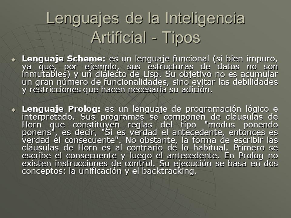 Lenguajes de la Inteligencia Artificial - Tipos Lenguaje LISP: es un lenguaje funcional y simbólico, por lo que a diferencia de los estructurados y los Orientados a Objeto, no precisa declarar los tipos de las variables ni tampoco reservar memoria.
