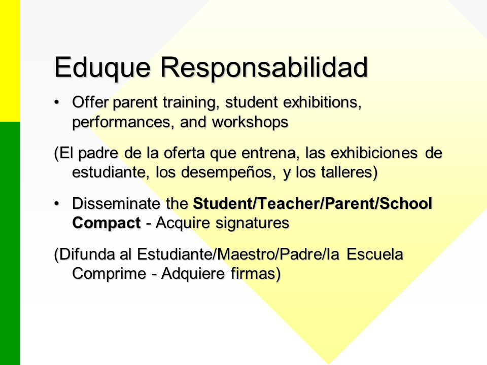 Eduque Responsabilidad Offer parent training, student exhibitions, performances, and workshopsOffer parent training, student exhibitions, performances, and workshops (El padre de la oferta que entrena, las exhibiciones de estudiante, los desempeños, y los talleres) Disseminate the Student/Teacher/Parent/School Compact - Acquire signaturesDisseminate the Student/Teacher/Parent/School Compact - Acquire signatures (Difunda al Estudiante/Maestro/Padre/la Escuela Comprime - Adquiere firmas)