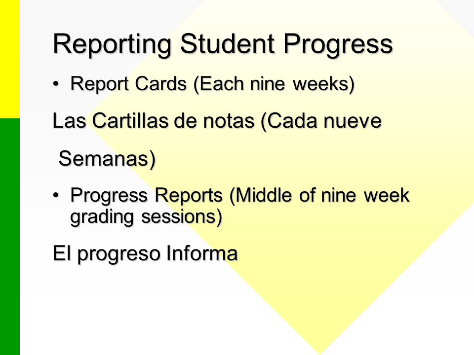 Reporting Student Progress Report Cards (Each nine weeks)Report Cards (Each nine weeks) Las Cartillas de notas (Cada nueve Semanas) Semanas) Progress