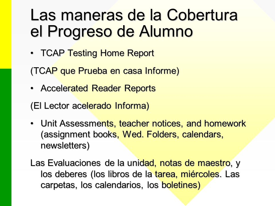 Las maneras de la Cobertura el Progreso de Alumno TCAP Testing Home ReportTCAP Testing Home Report (TCAP que Prueba en casa Informe) Accelerated Reader ReportsAccelerated Reader Reports (El Lector acelerado Informa) Unit Assessments, teacher notices, and homework (assignment books, Wed.