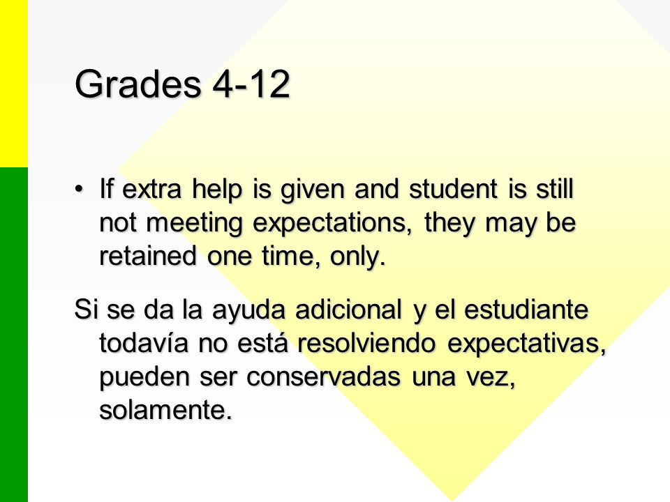 Grades 4-12 If extra help is given and student is still not meeting expectations, they may be retained one time, only.If extra help is given and student is still not meeting expectations, they may be retained one time, only.