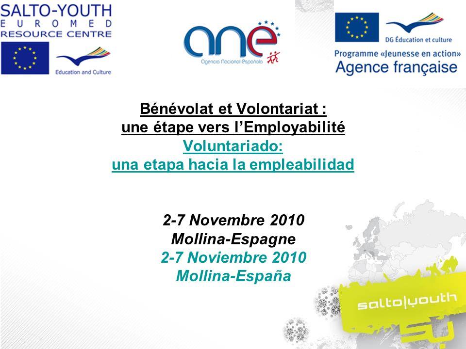 Bénévolat et Volontariat : une étape vers lEmployabilité Voluntariado: una etapa hacia la empleabilidad 2-7 Novembre 2010 Mollina-Espagne 2-7 Noviembre 2010 Mollina-España