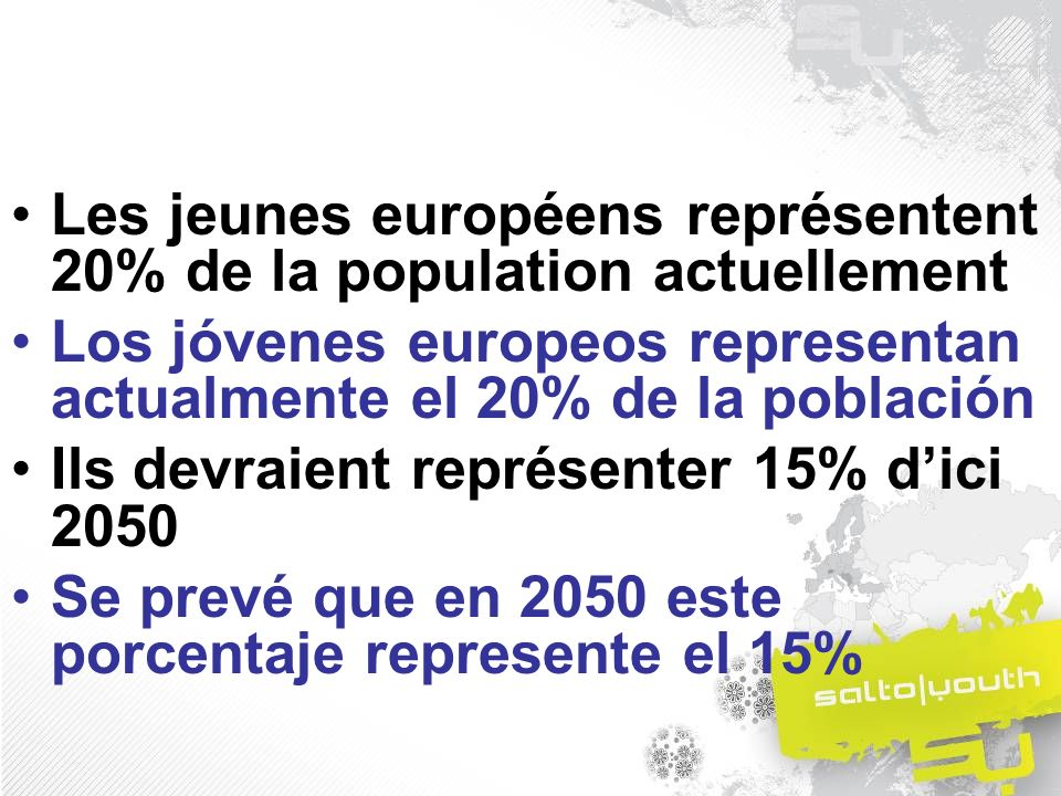 Les jeunes européens représentent 20% de la population actuellement Los jóvenes europeos representan actualmente el 20% de la población Ils devraient représenter 15% dici 2050 Se prevé que en 2050 este porcentaje represente el 15%