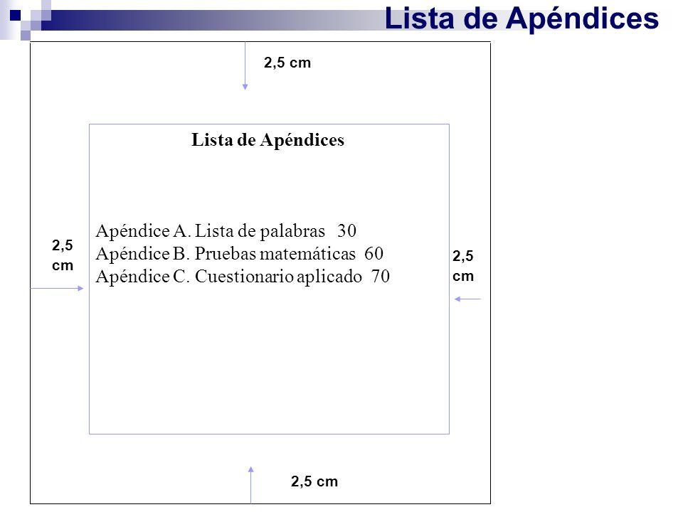 Lista de Apéndices 2,5 cm Lista de Apéndices Apéndice A. Lista de palabras 30 Apéndice B. Pruebas matemáticas 60 Apéndice C. Cuestionario aplicado 70