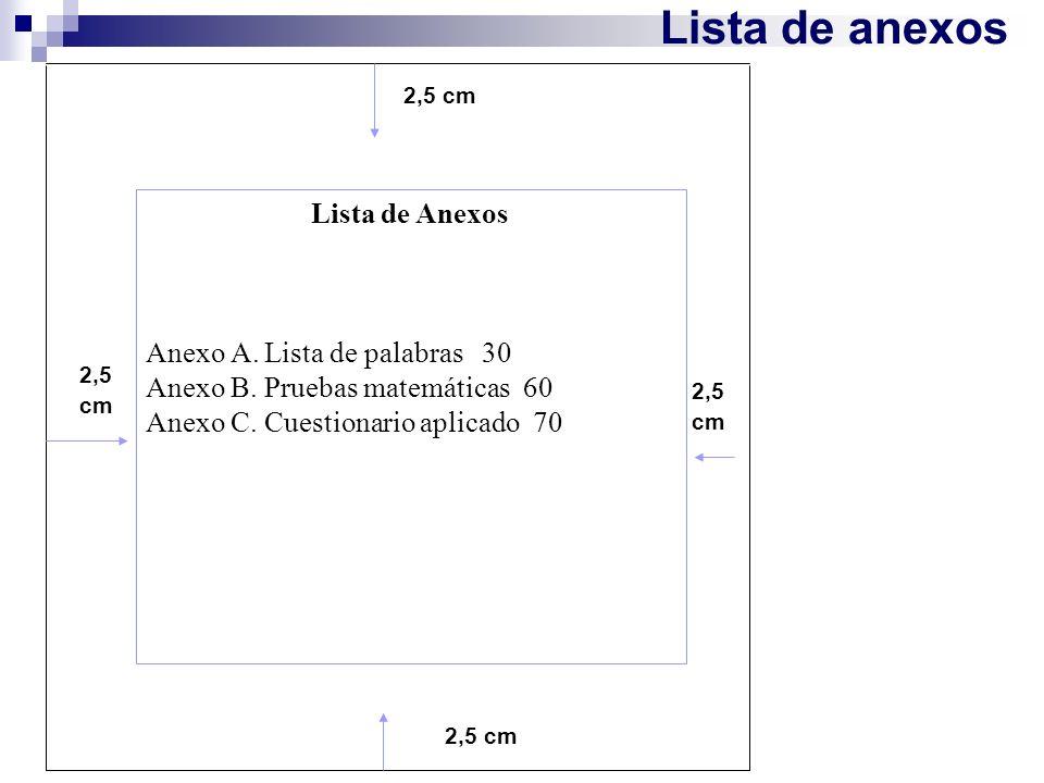 Lista de anexos 2,5 cm Lista de Anexos Anexo A. Lista de palabras 30 Anexo B. Pruebas matemáticas 60 Anexo C. Cuestionario aplicado 70