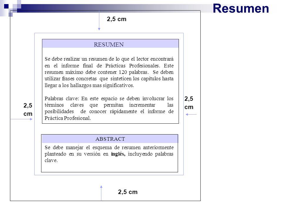 Resumen 2,5 cm RESUMEN Se debe realizar un resumen de lo que el lector encontrará en el informe final de Prácticas Profesionales. Este resumen máximo