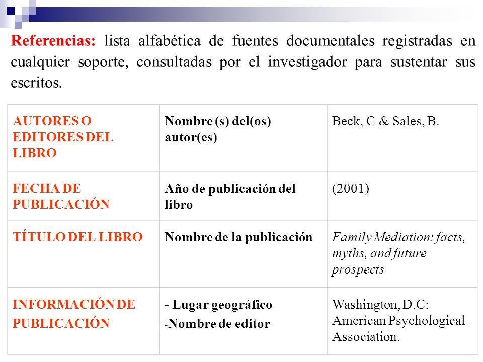 AUTORES O EDITORES DEL LIBRO Nombre (s) del(os) autor(es) Beck, C & Sales, B. FECHA DE PUBLICACIÓN Año de publicación del libro (2001) TÍTULO DEL LIBR