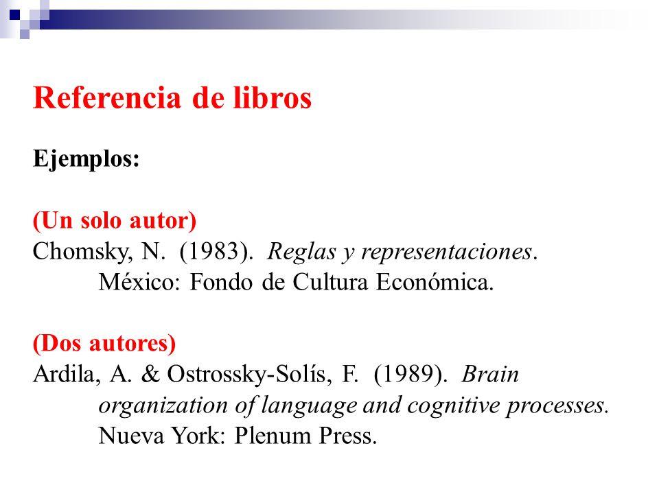 Referencia de libros Ejemplos: (Un solo autor) Chomsky, N. (1983). Reglas y representaciones. México: Fondo de Cultura Económica. (Dos autores) Ardila
