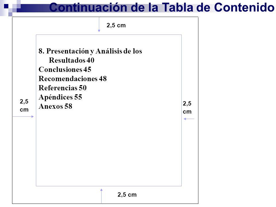 Continuación de la Tabla de Contenido 2,5 cm 8. Presentación y Análisis de los Resultados 40 Conclusiones 45 Recomendaciones 48 Referencias 50 Apéndic