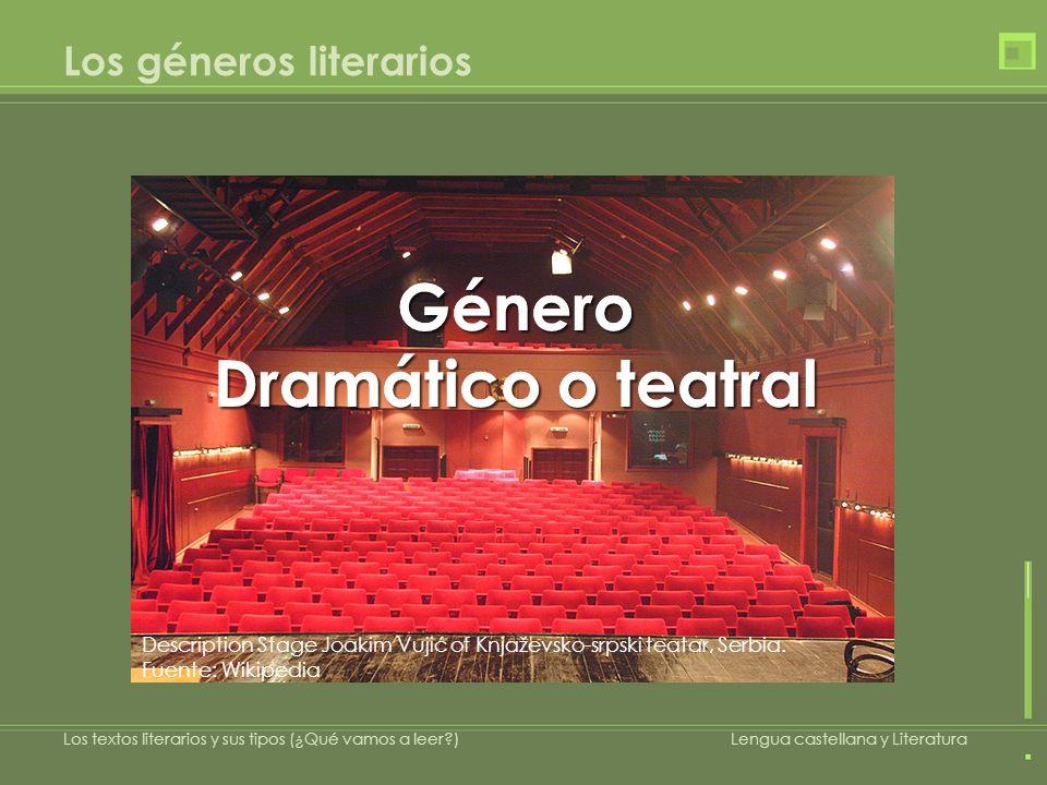 Los géneros literarios Género Dramático o teatral Género Description Stage Joakim Vujić of Knjaževsko-srpski teatar, Serbia. Fuente: Wikipedia Los tex